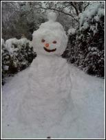 Snowman built by Pauline