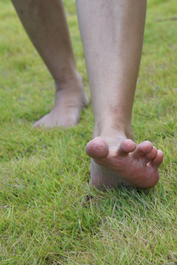Grass under bare feet